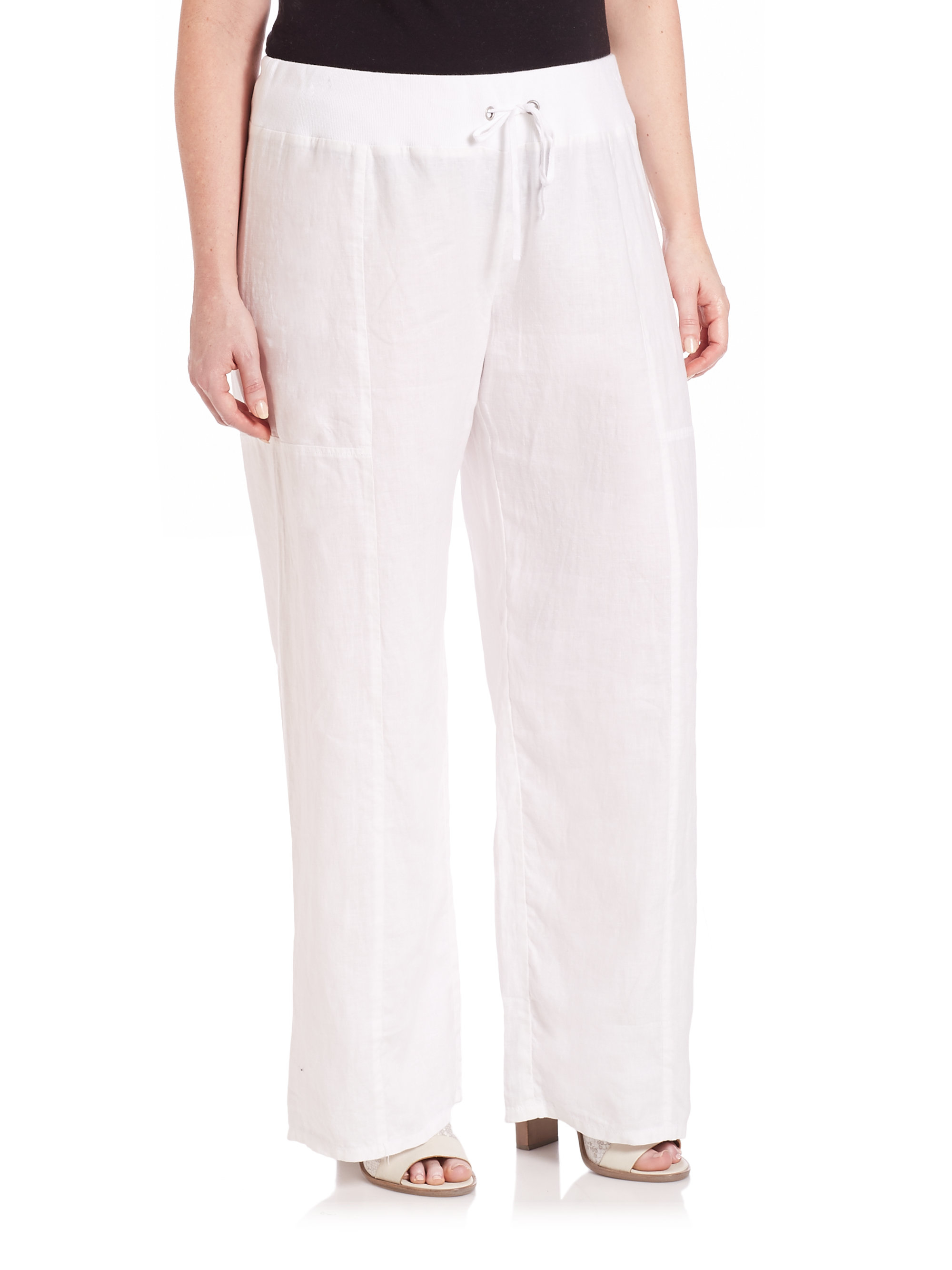 White linen pants / White wide leg pants / White linen trousers / Linen clothing Wide leg pants with pockets in White color. They are designed with wide leg cut, elastic band on the back for easy slip-on style and with two pockets in front for convenience in wearing, high waist fit make your legs looks longer.