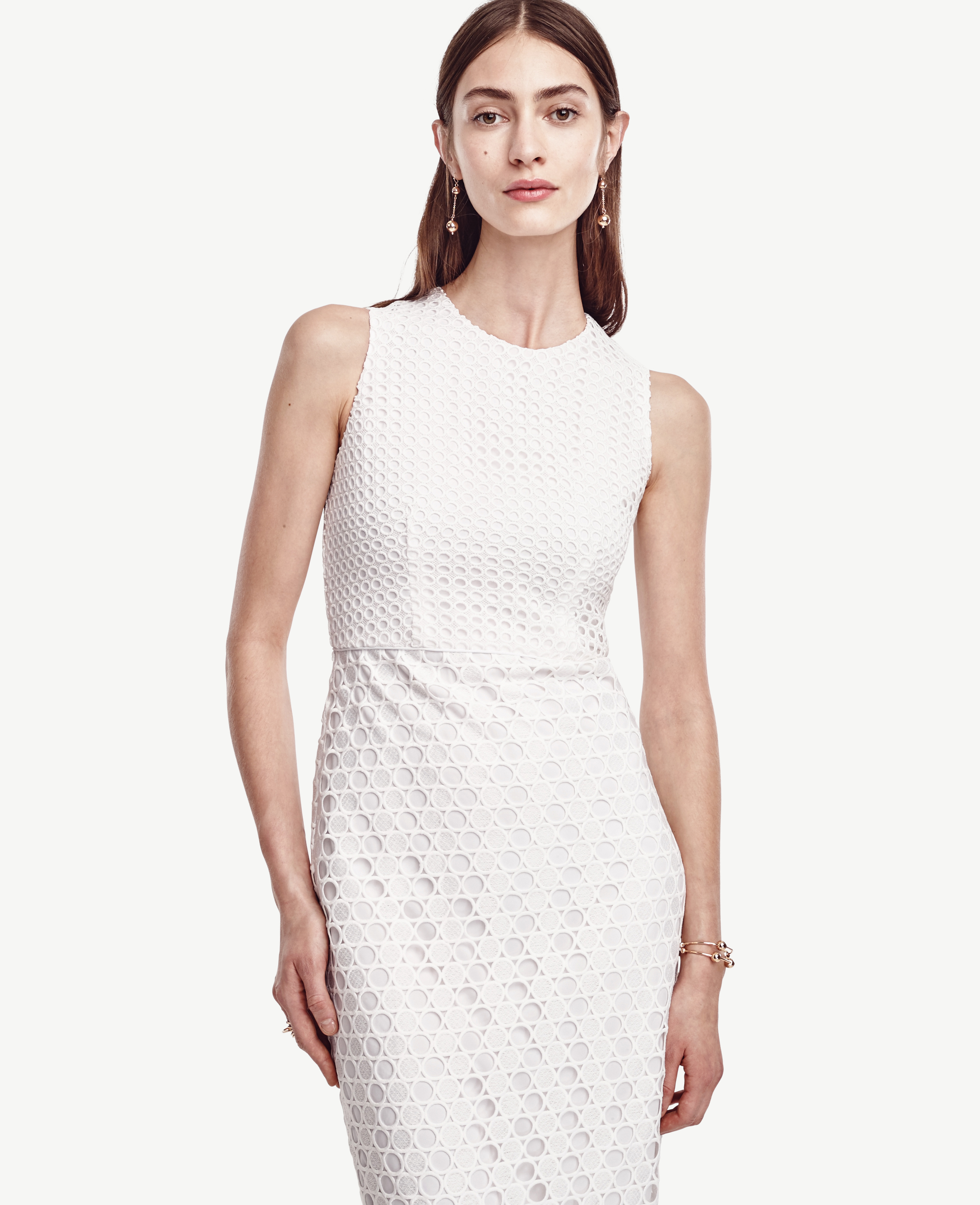 c685d8bef9c9 Lyst - Ann Taylor Petite Geo Eyelet Dress in White