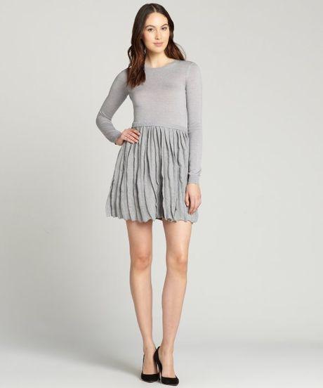 valentino gray fleece wool sleeve pleated skirt