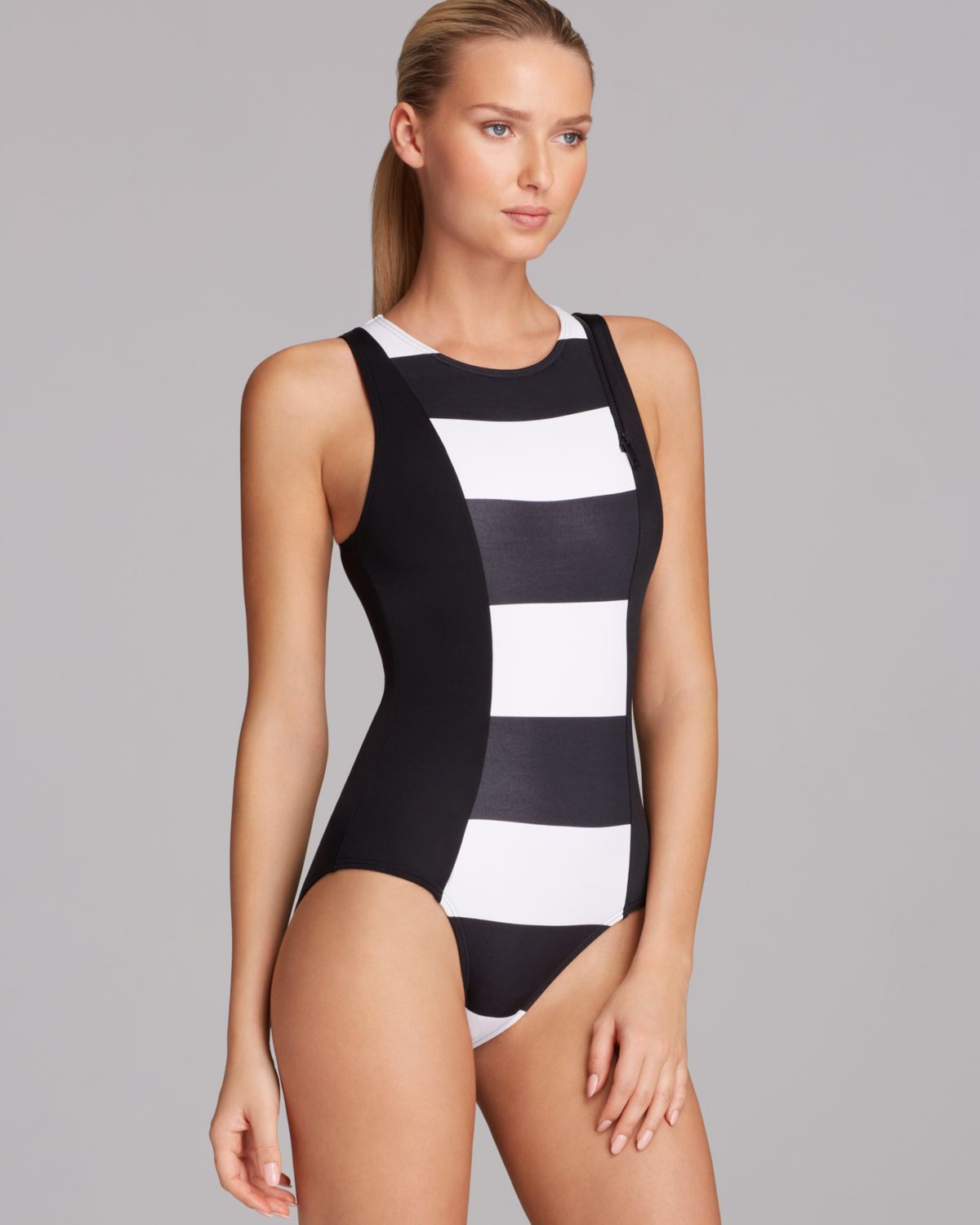 9dee273fdb5 DKNY Lorimer Stripe High Neck Maillot One Piece Swimsuit in White - Lyst