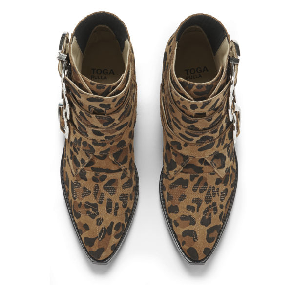 Toga Pulla Womens Leopard Print Suede Buckle Ankle Boots in Brown - Lyst d715e29d46
