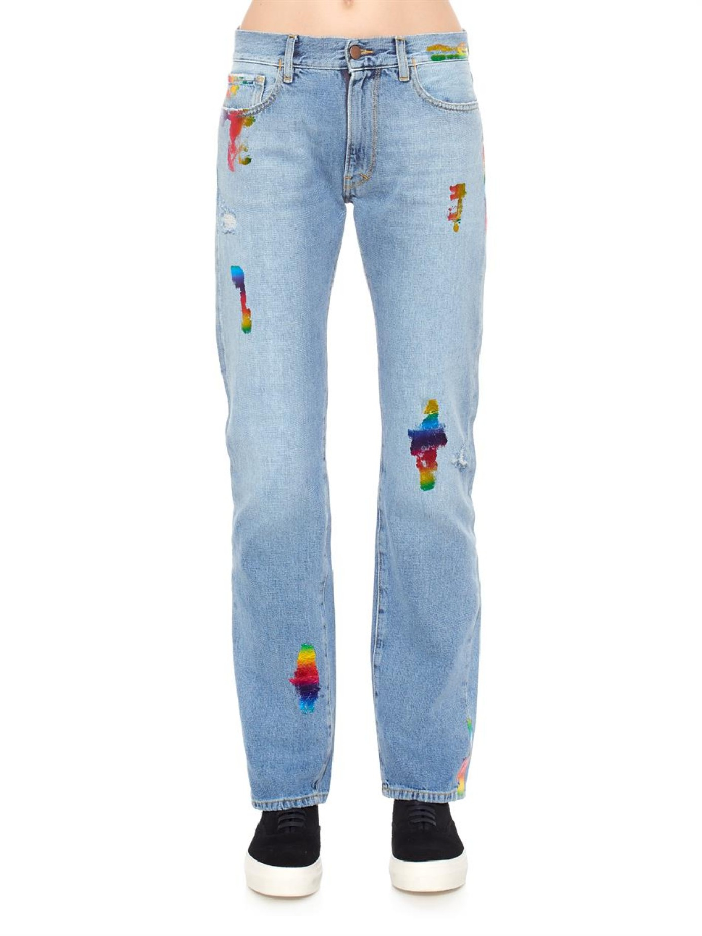 lyst aries simon rainbow foil boyfriend jeans in blue. Black Bedroom Furniture Sets. Home Design Ideas
