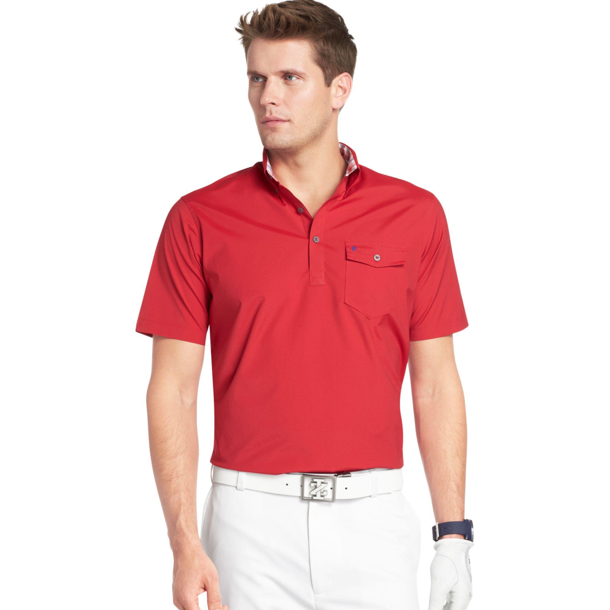 Izod Short Sleeve Popover Performance Golf Shirt With