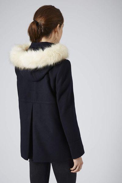 Topshop Faux Fur Hooded Swing Coat In Blue Navy Blue Lyst