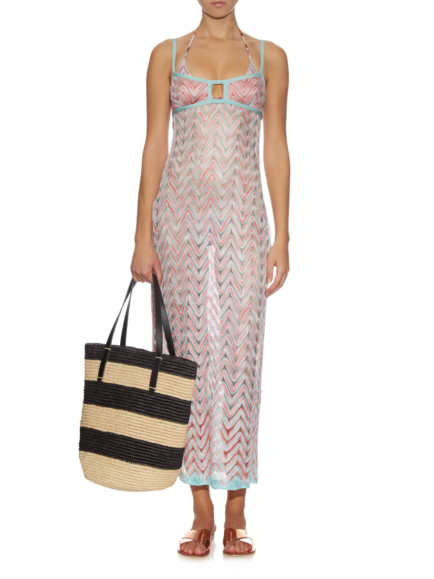 Missoni Chevron-knit Maxi Dress in Pink  Lyst