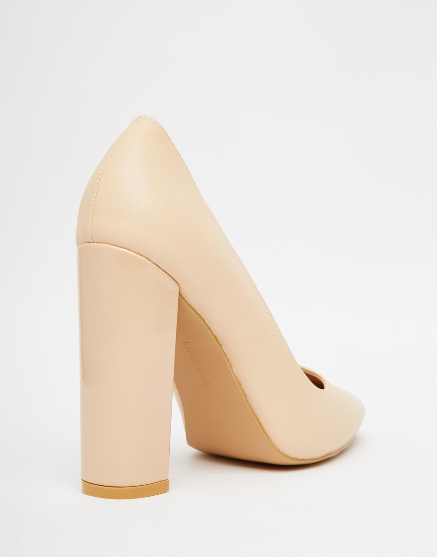 Lyst - Lost ink Carlita Nude Shine Block Heel Court Shoes in Natural