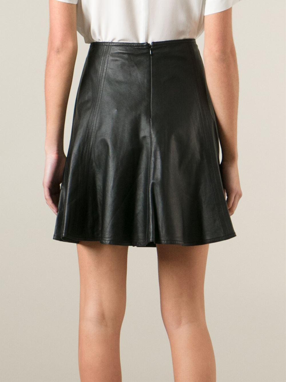 michael michael kors leather flared skirt in black lyst