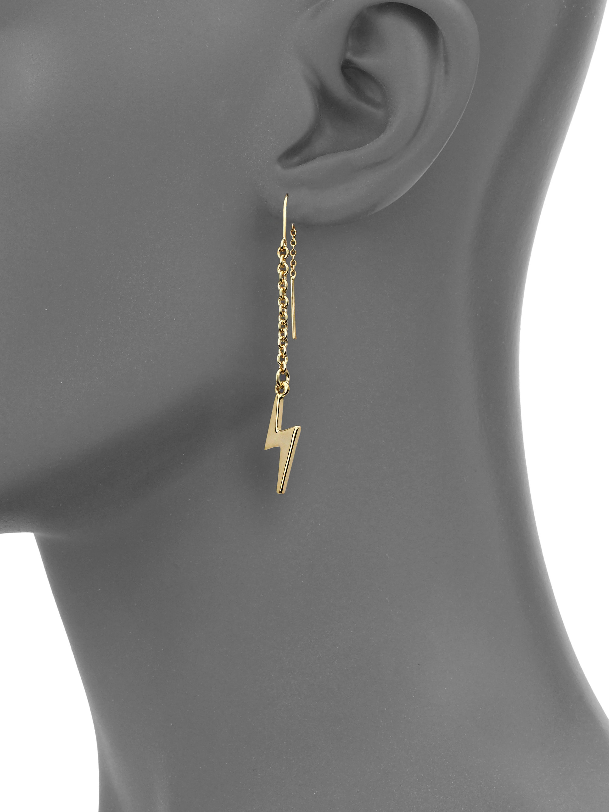 754c4fdfb Marc By Marc Jacobs Lightning Bolt Threaded Drop Earrings in ...