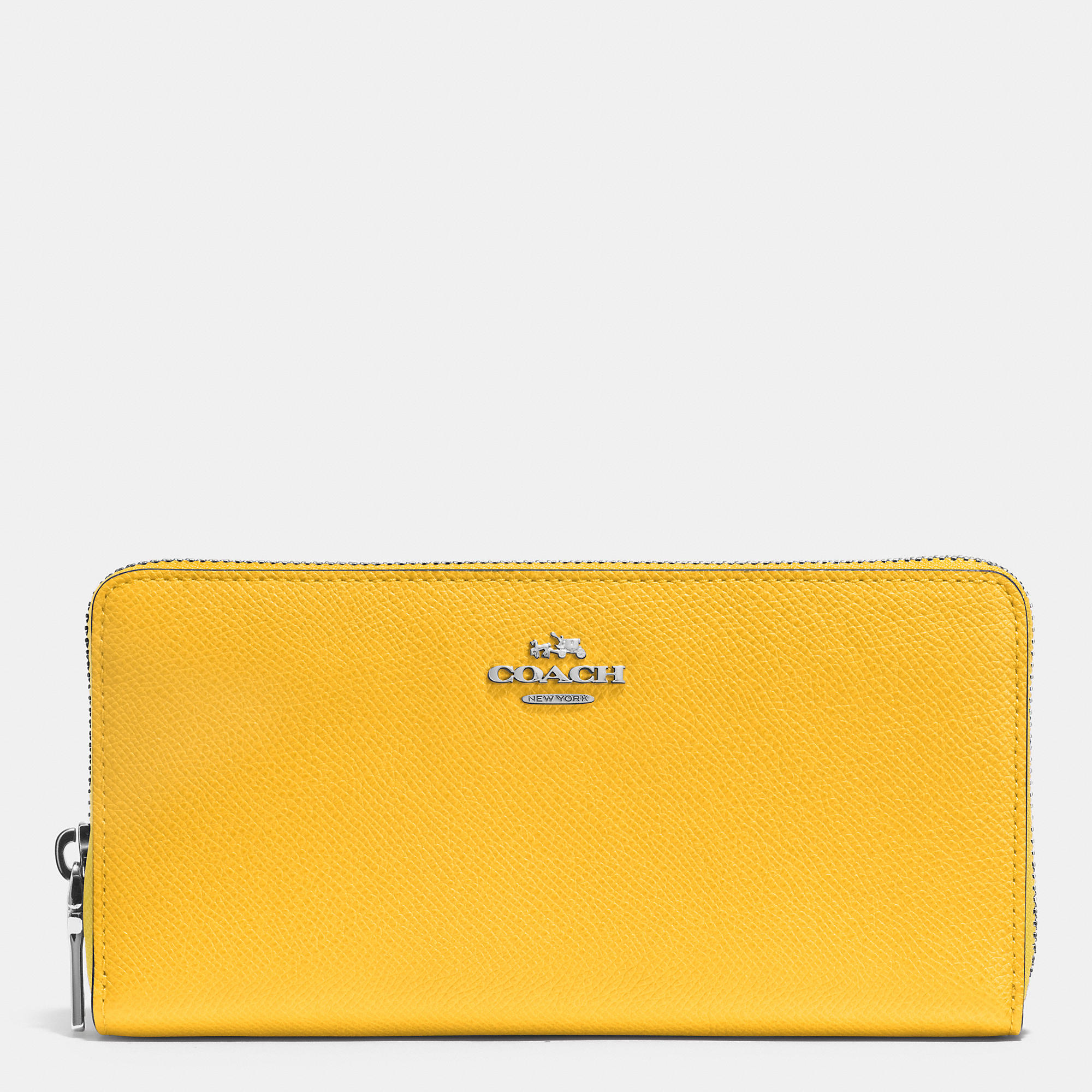 0bb6b94b12 Lyst - COACH Accordion Zip Wallet In Embossed Textured Leather in Yellow