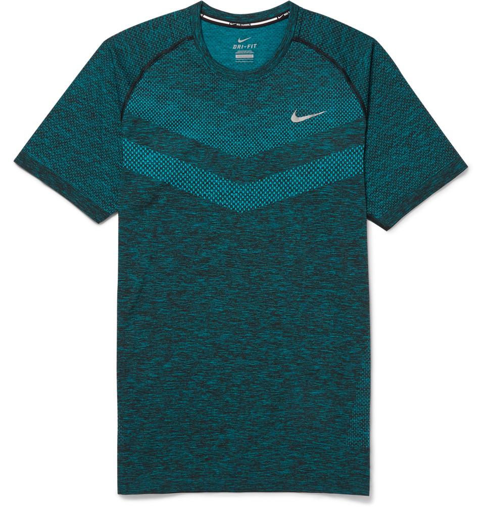 Nike dri fit running t shirt in blue for men lyst for Dri fit t shirt design