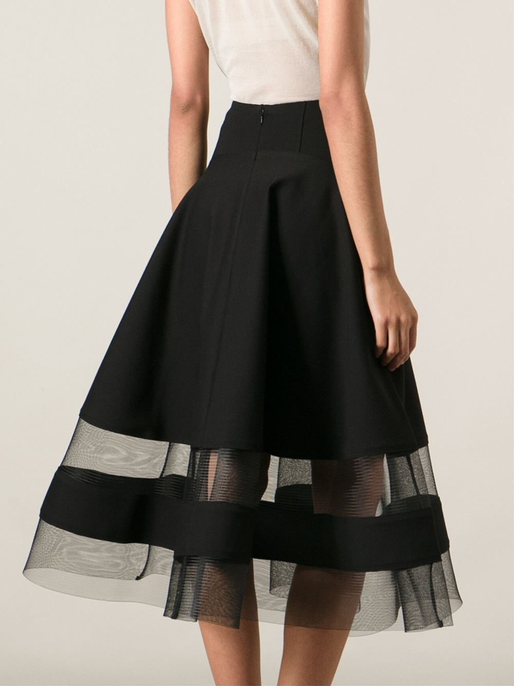 Armani Sheer Striped Hem Skirt In Black Lyst