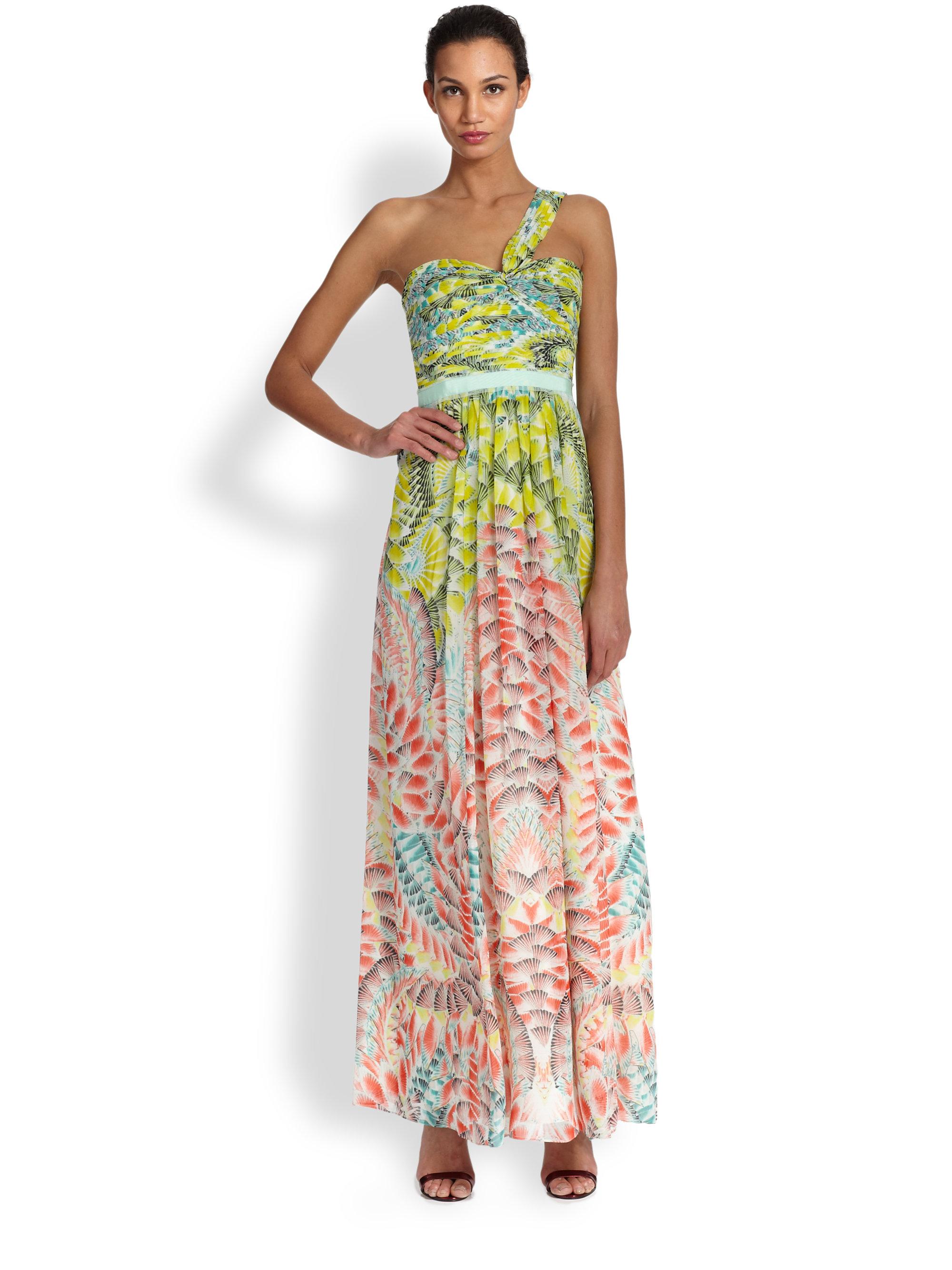 d094760bcfcf BCBGMAXAZRIA Silk Oneshoulder Printed Maxi Dress - Lyst