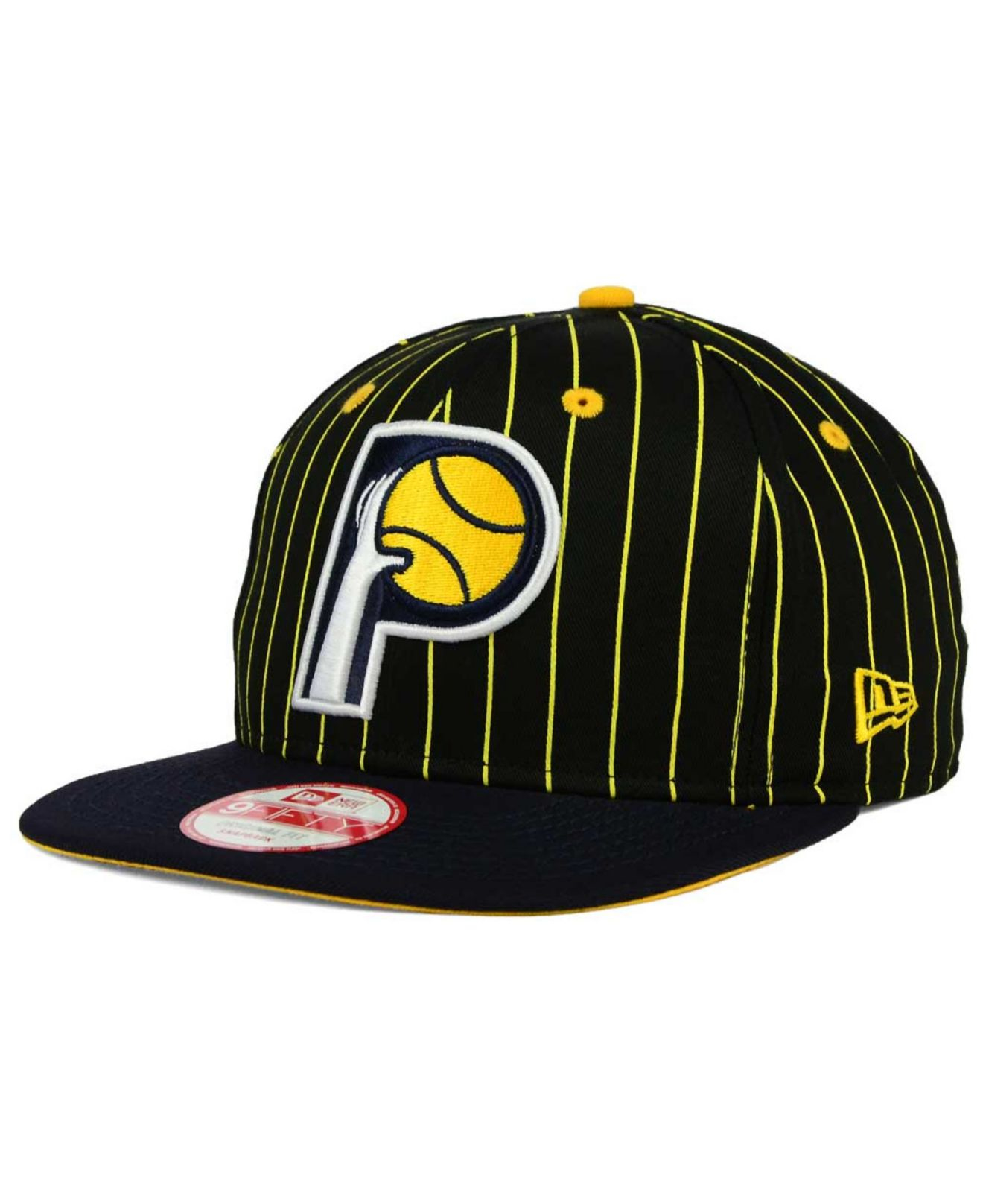 new style fcc94 a575d KTZ Indiana Pacers Vintage Pinstripe 9fifty Snapback Cap in Black ...