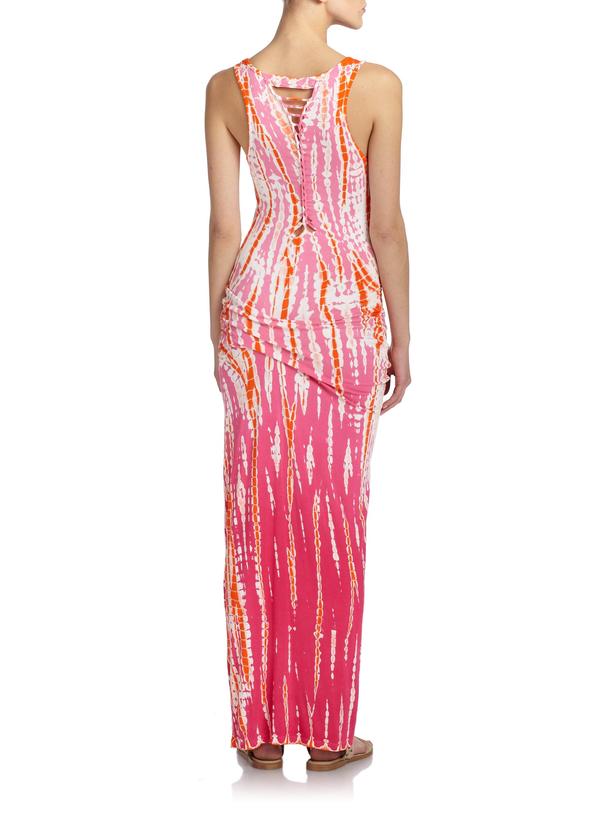 fabulous tie dye maxi dress in pink