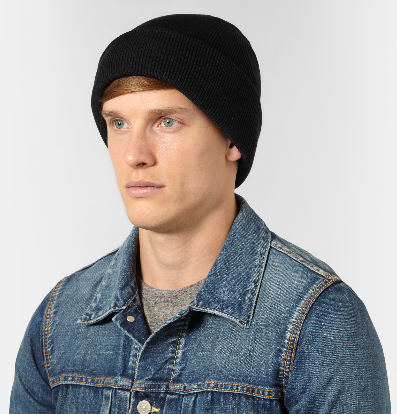 52d7b1a609e J.Crew Ribbed-knit Beanie in Black for Men - Lyst