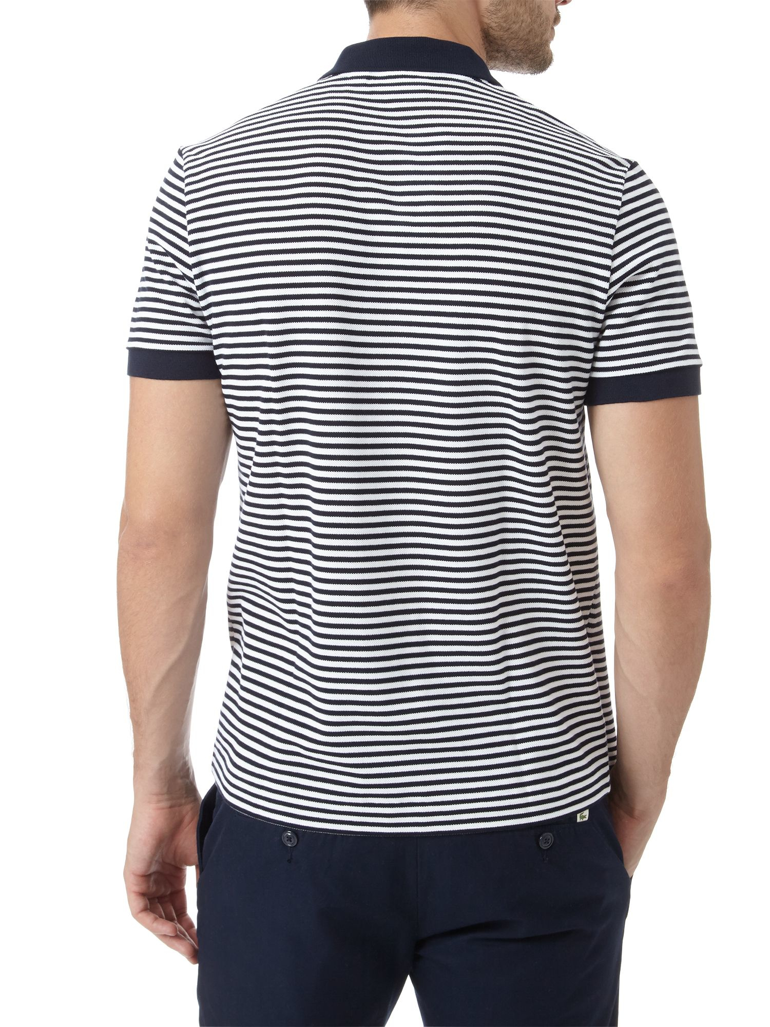 Lyst - Lacoste Striped Polo Shirt in Blue for Men