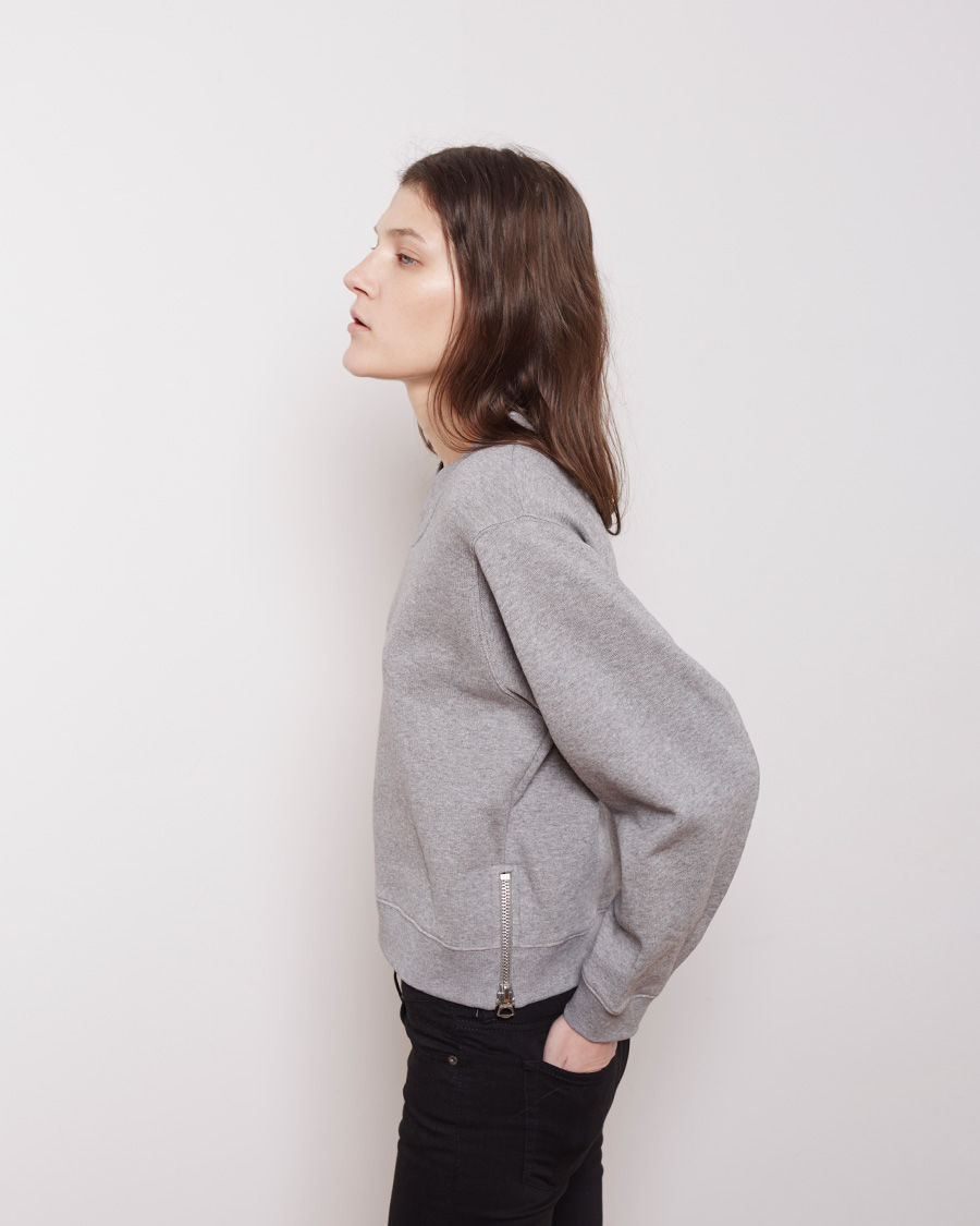 lyst acne studios bird fleece cropped pullover in gray. Black Bedroom Furniture Sets. Home Design Ideas