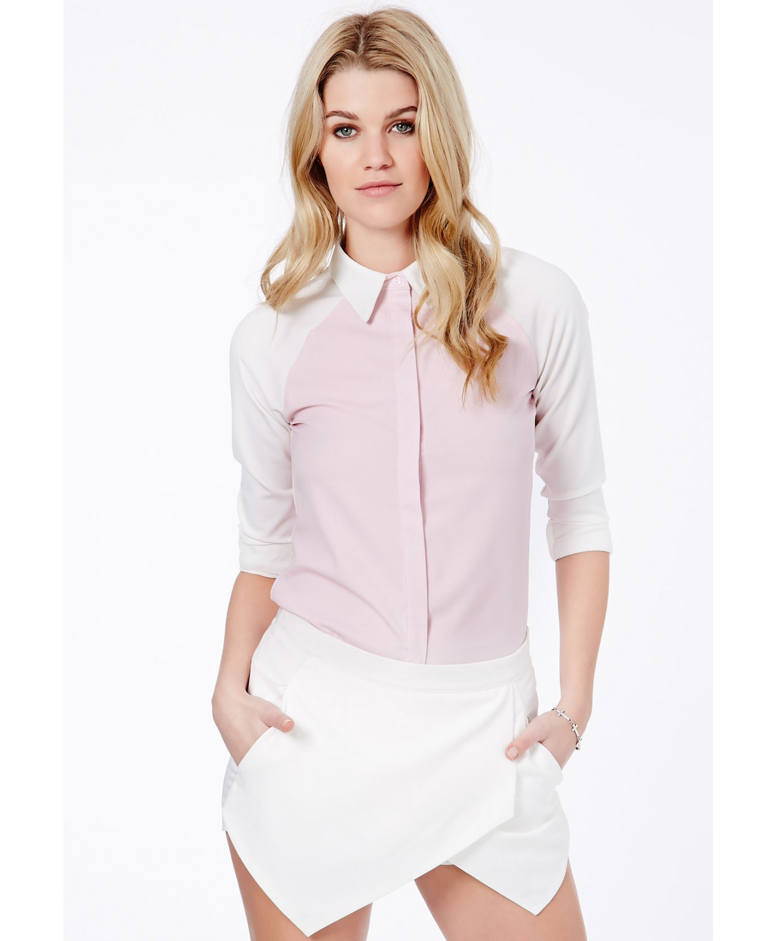 Missguided Gabina Collared Contrast Shirt In Baby Pink In