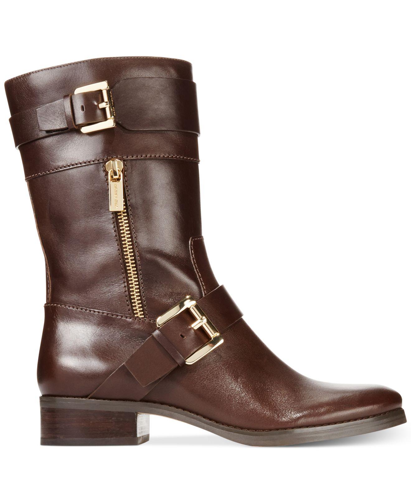 michael kors michael gansevoort flat boots in brown lyst
