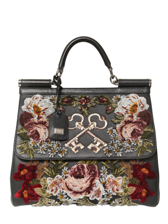 4e09438535be Lyst - Dolce   Gabbana Sicily Embroidered Velvet On Leather Bag in Black