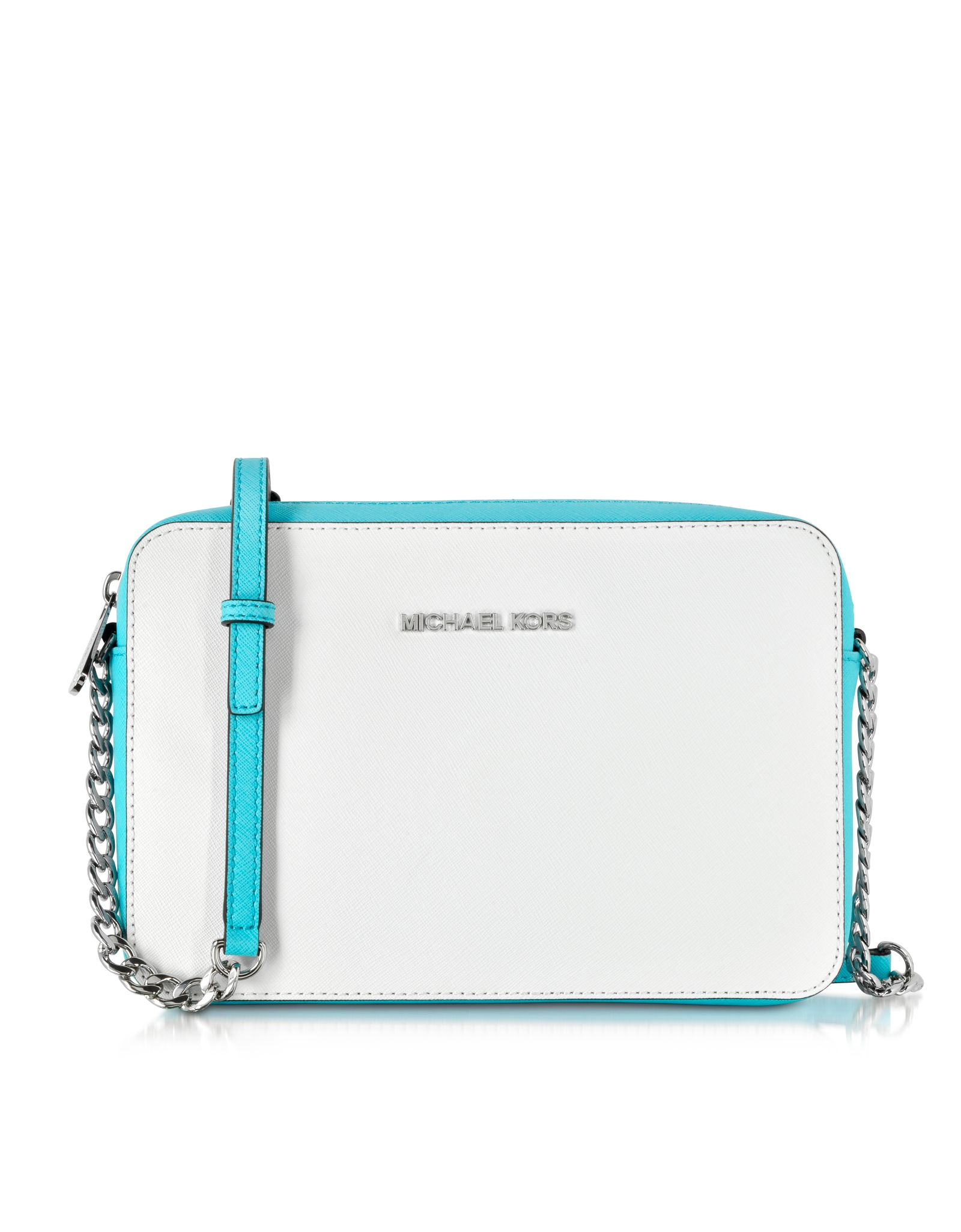 7e9fdf6f47 Lyst - Michael Kors White aqua Jet Set Travel Large Saffiano Leather ...
