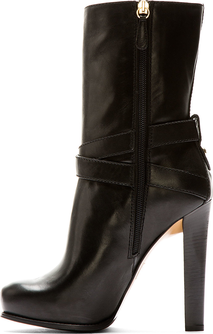 dsquared 178 black leather high heel vitello boot in black lyst