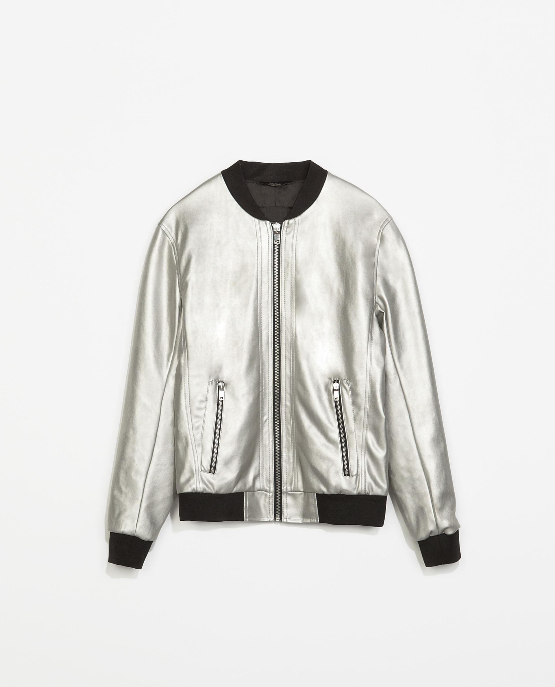 Zara Metallic Bomber Jacket in Metallic for Men | Lyst