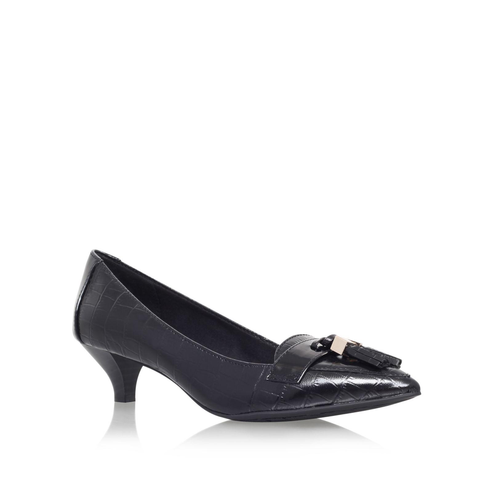 klein miguela low heel court shoes in black jet