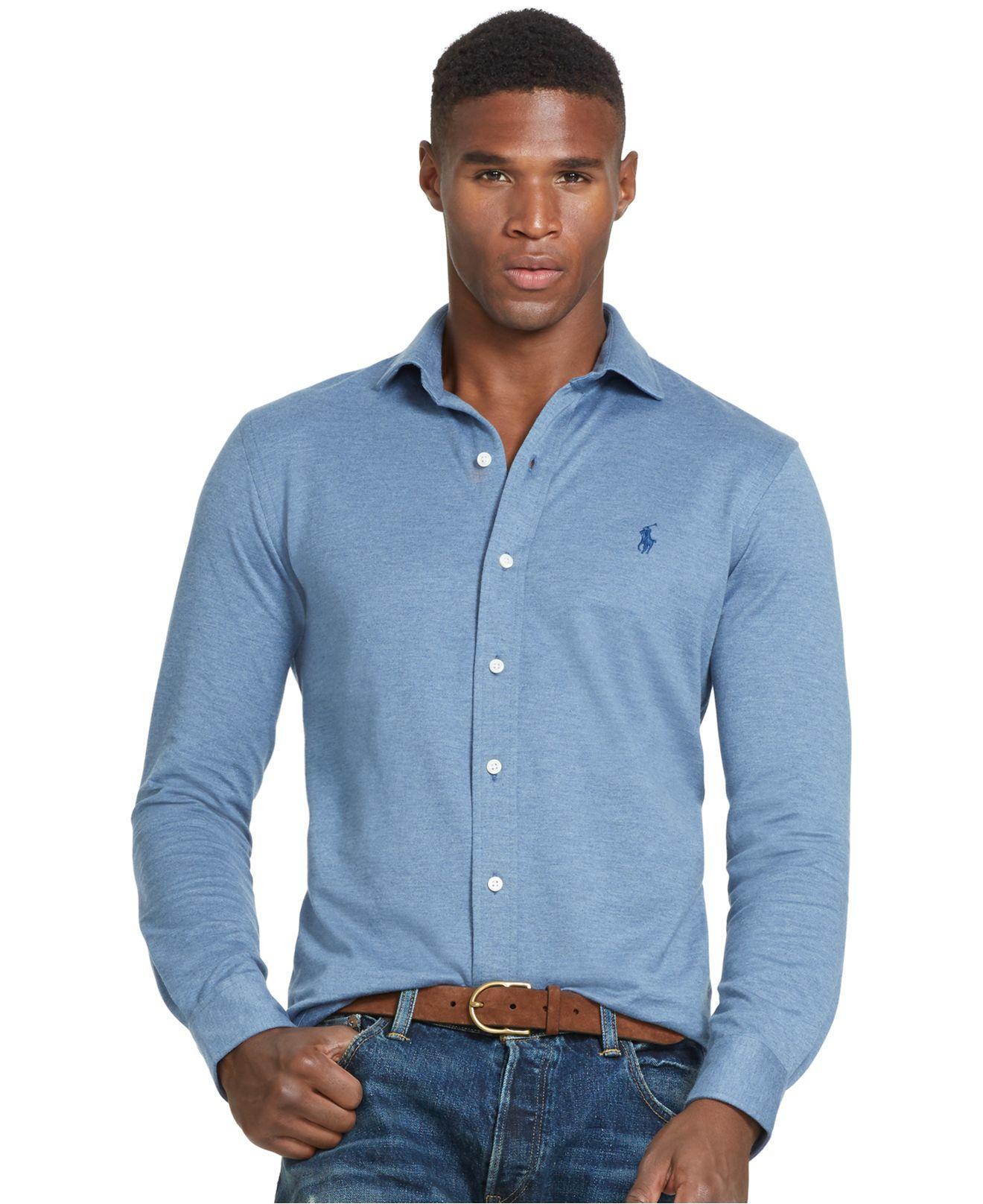 Polo ralph lauren knit estate dress shirt in blue for men for Lauren ralph lauren mens dress shirts