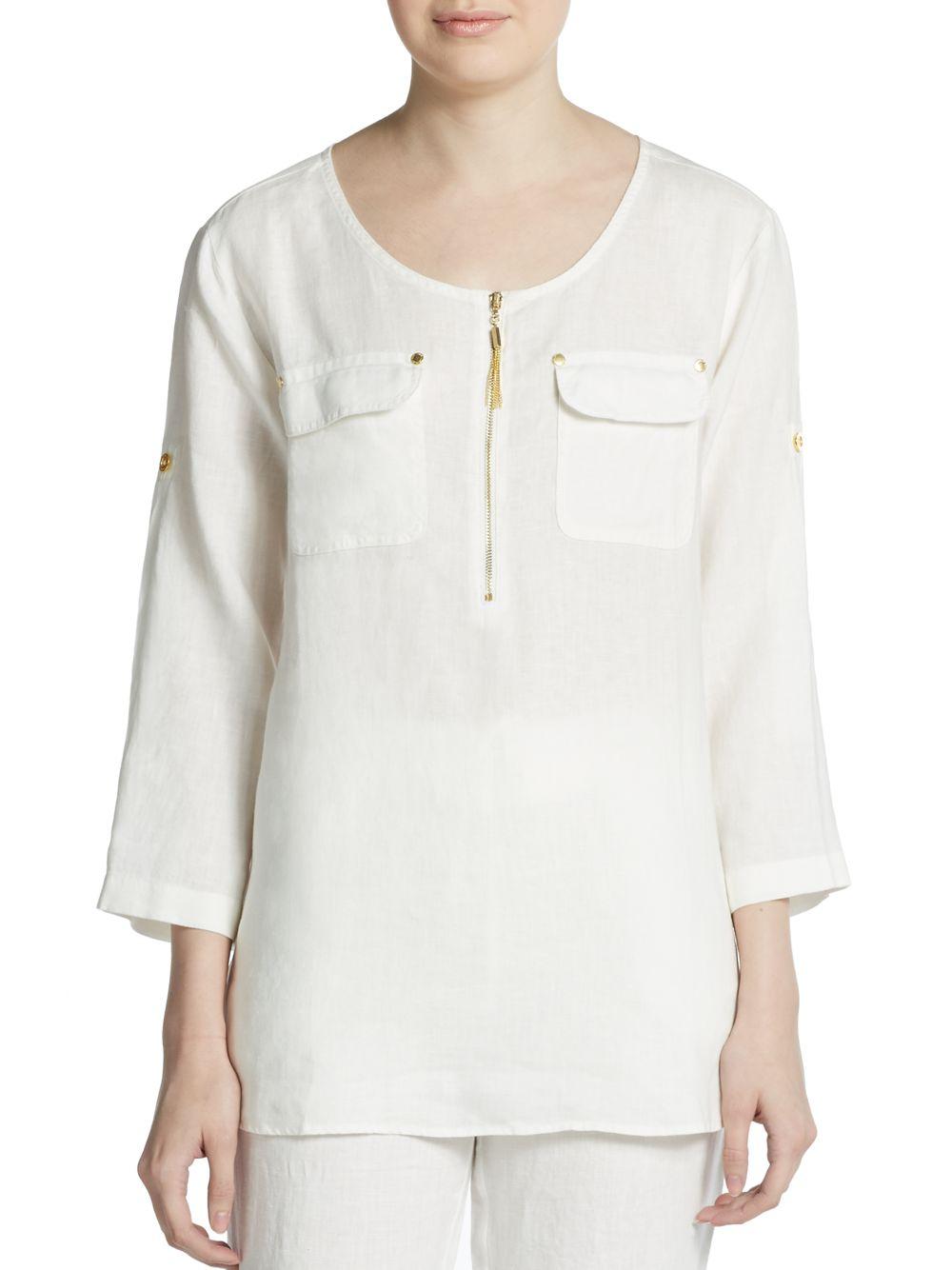 Ellen Tracy Roll Sleeve Linen Shirt In White Lyst