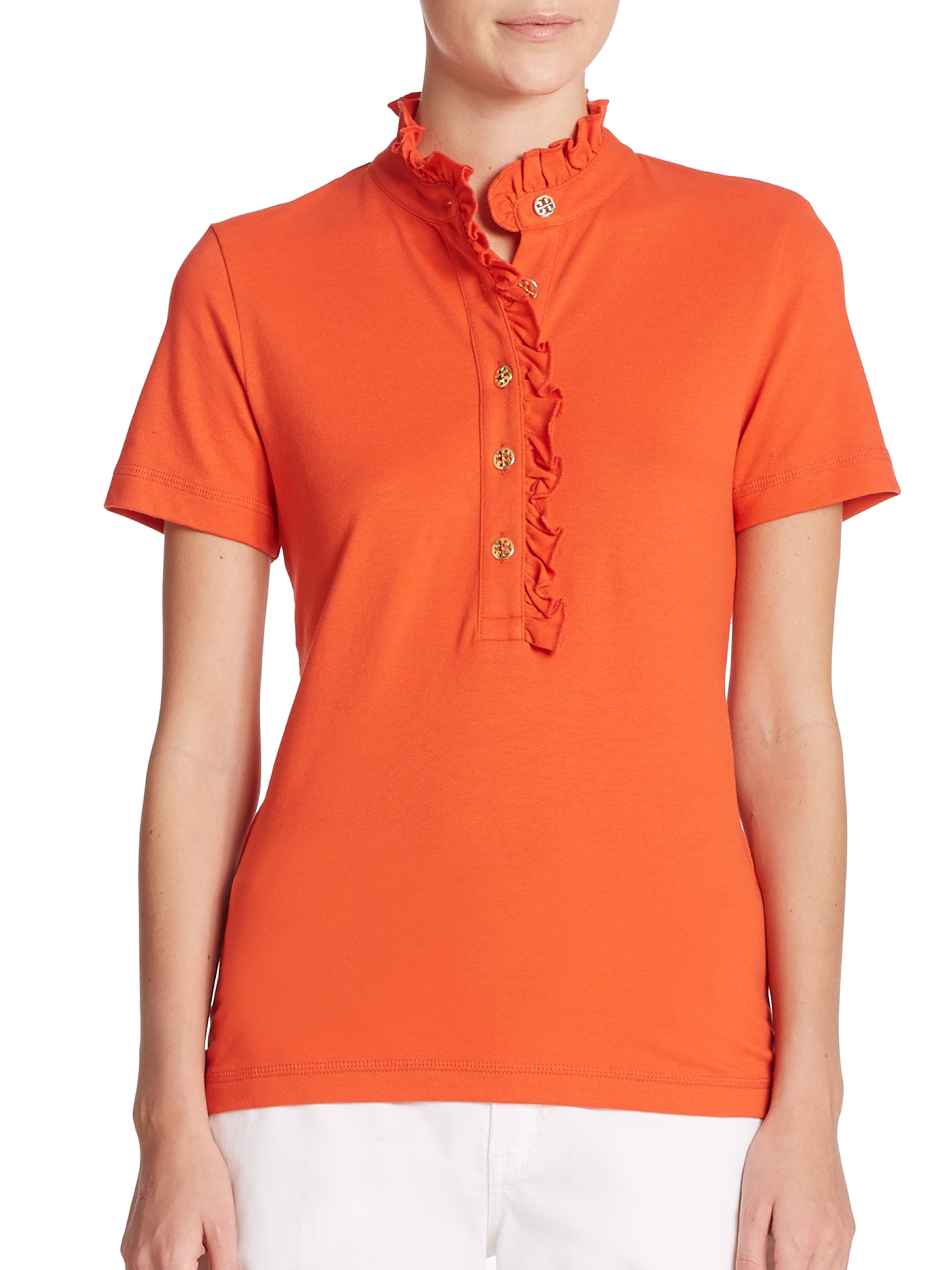 Tory burch lidia polo shirt in red lyst for Tory burch t shirt