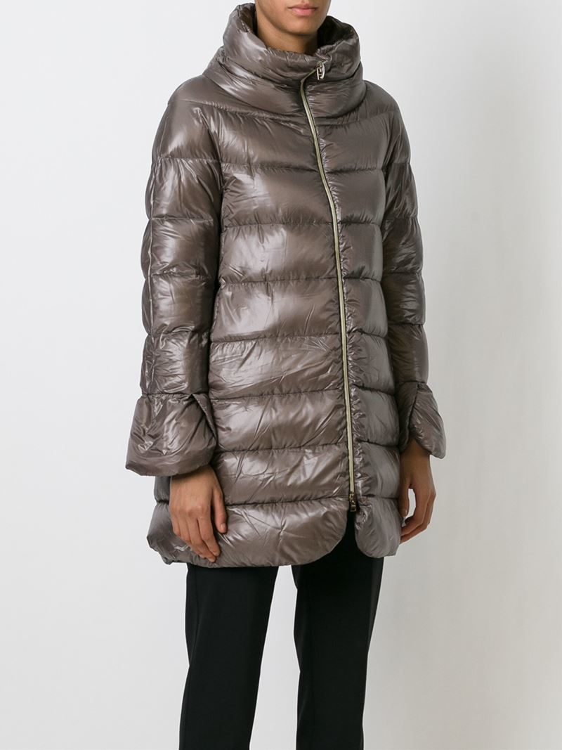 Lyst Herno Zipped Padded Coat In Brown