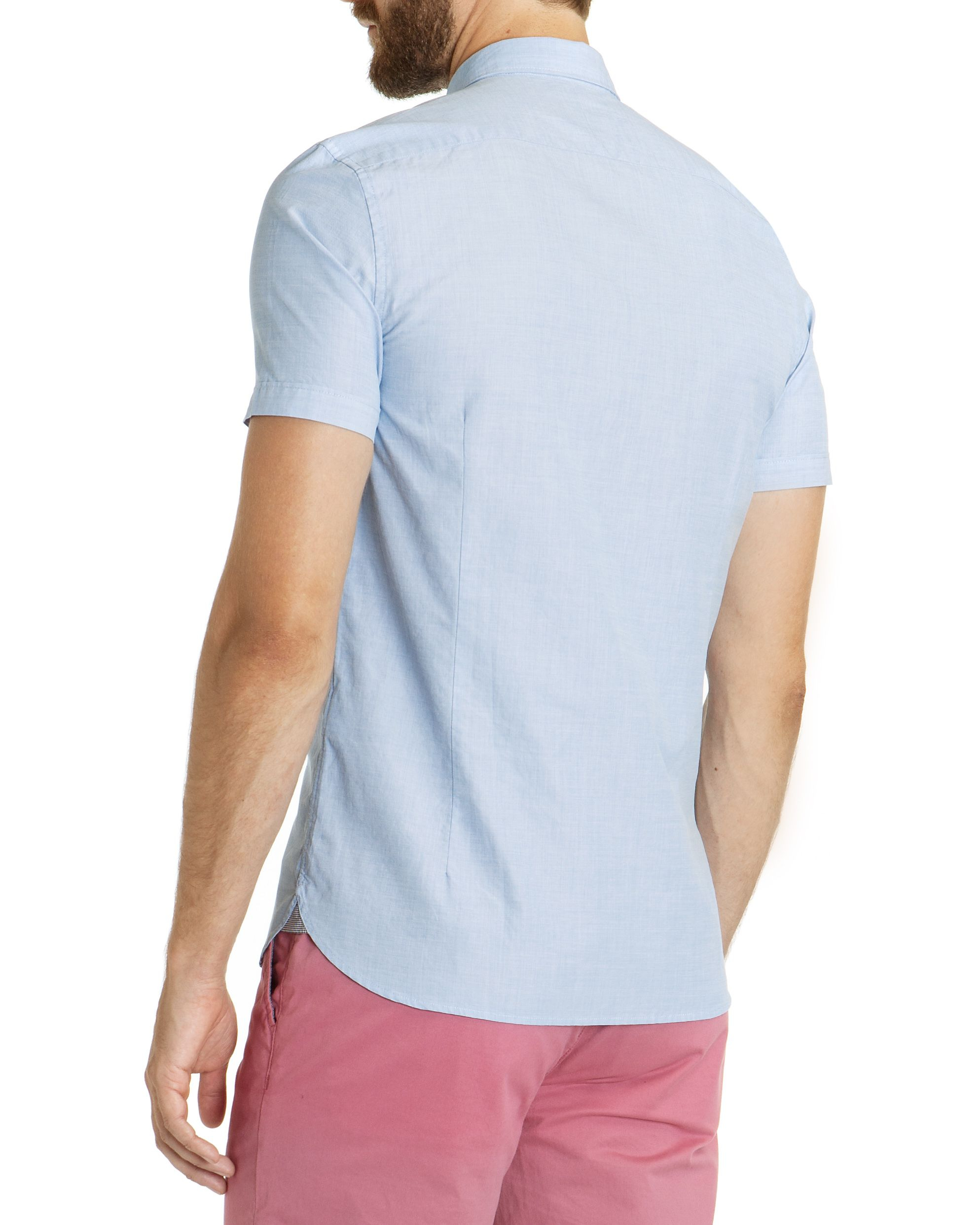 Ted baker toscoop short sleeve on end shirt in blue for for Ted baker blue shirt