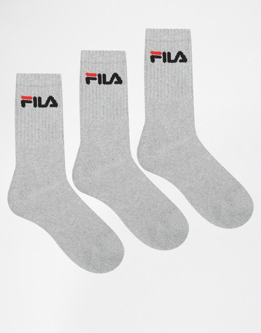 9dfe15c05 Fila 3 Pack Crew Socks in Gray for Men - Lyst