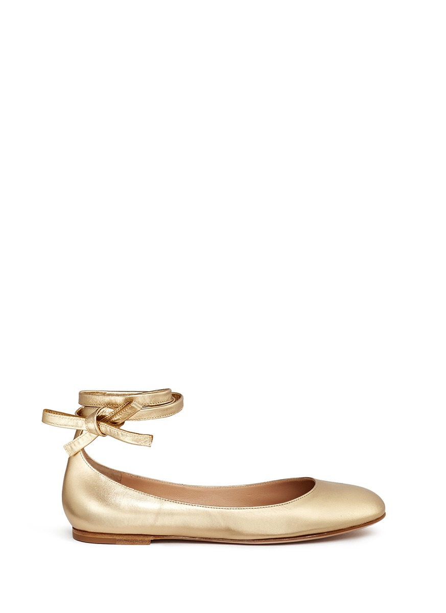3c560c9770f8 Lyst - Gianvito Rossi  carla  Ankle Tie Metallic Leather Ballerina ...