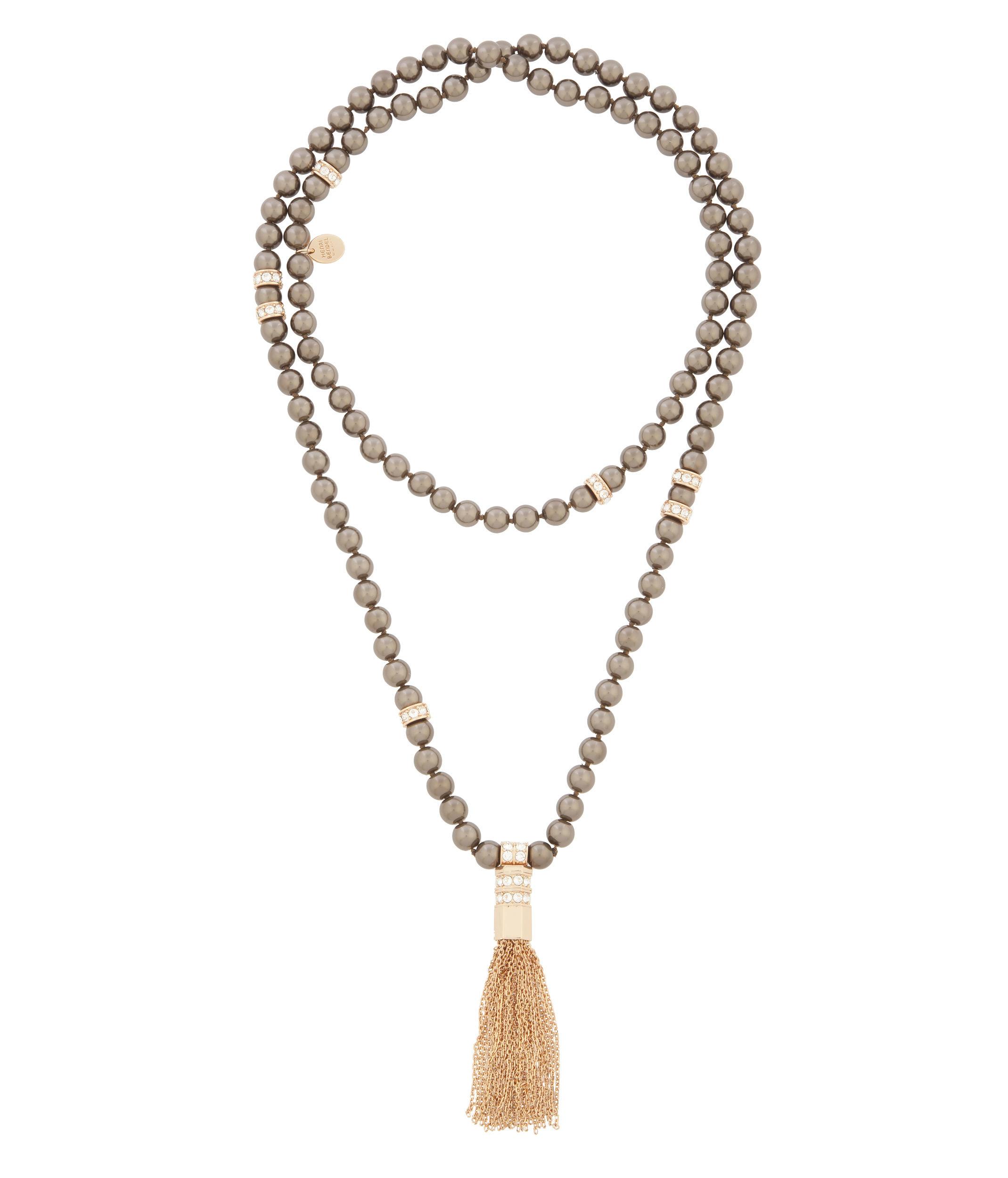 Lyst Henri Bendel Nolita Pearl Tassel Necklace In Brown