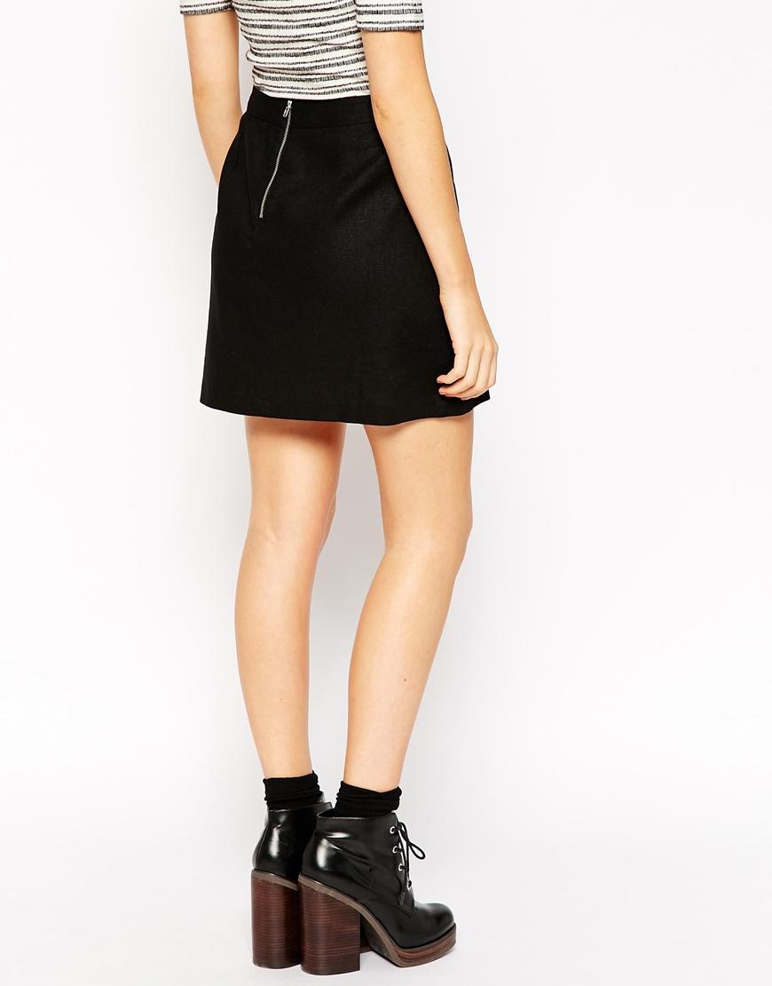 4685d92a3d28 ASOS A-line Linen Mini Skirt in Black - Lyst