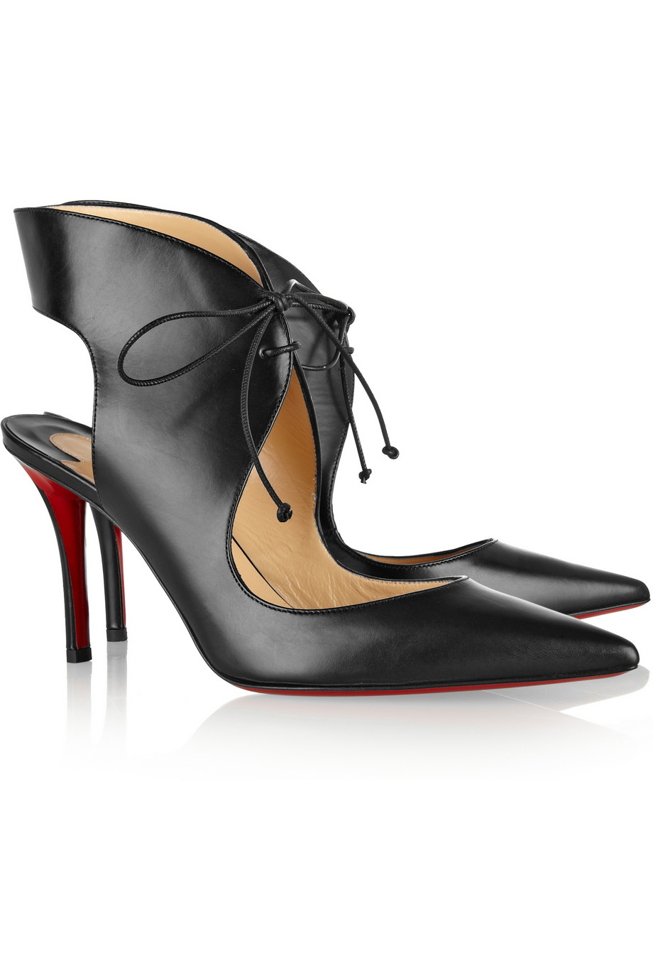christian louboutin wedge sandals Black patent leather cutouts ...