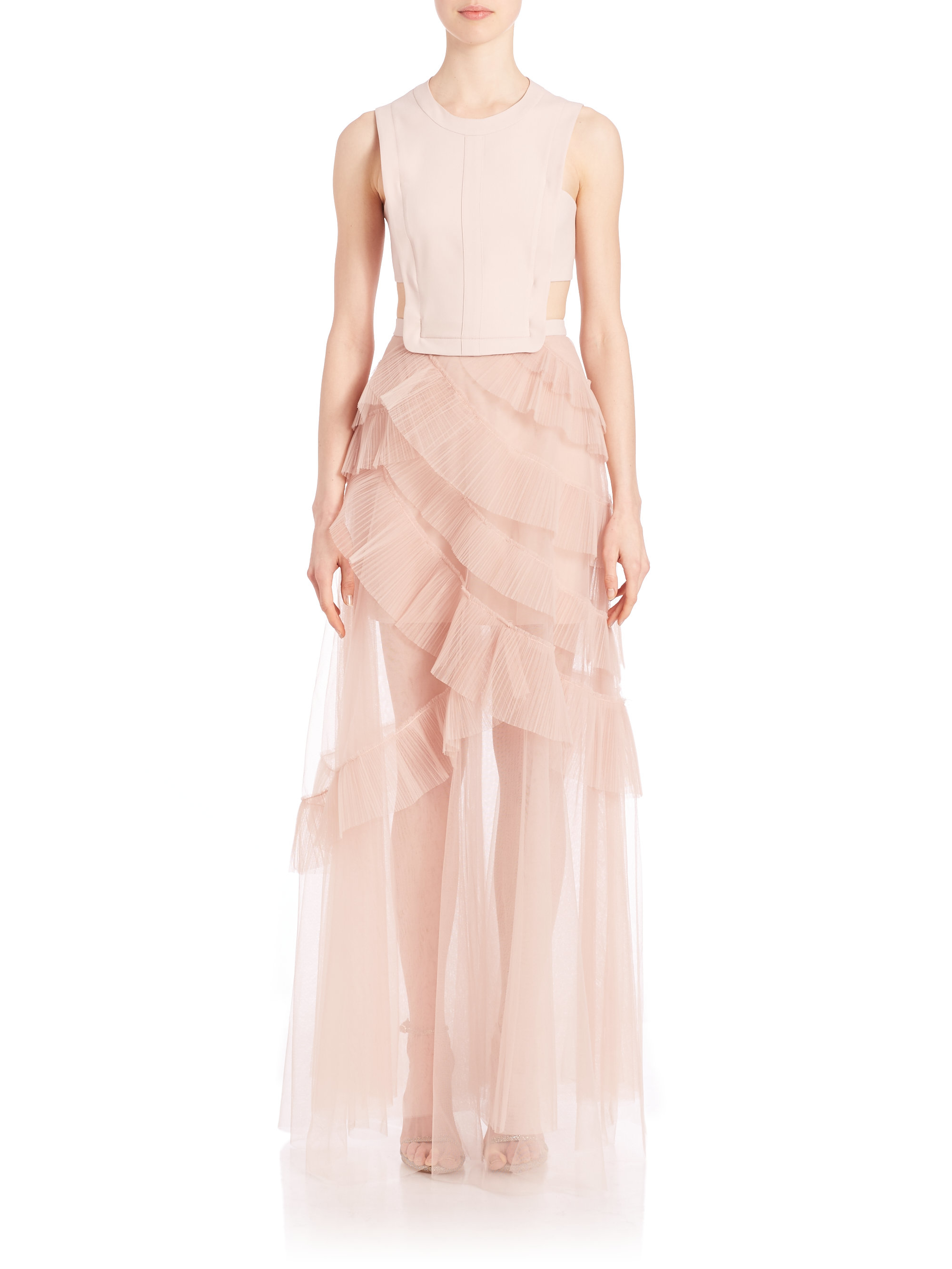 Lyst - Bcbgmaxazria Avalon Sheer Cutout Gown in Pink