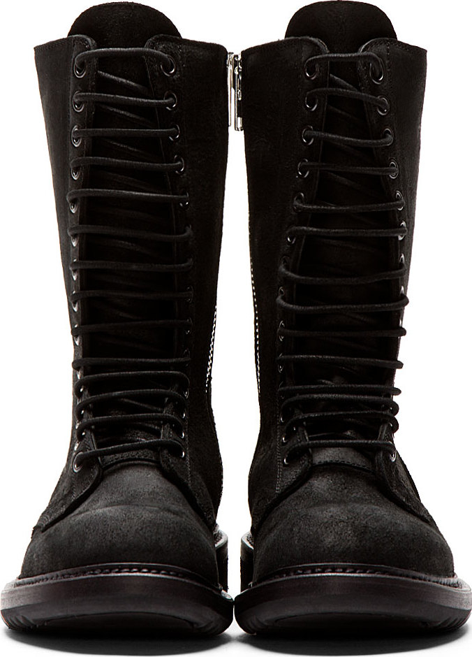 Rick Owens Black Brushed Suede Combat Boots In Black Lyst