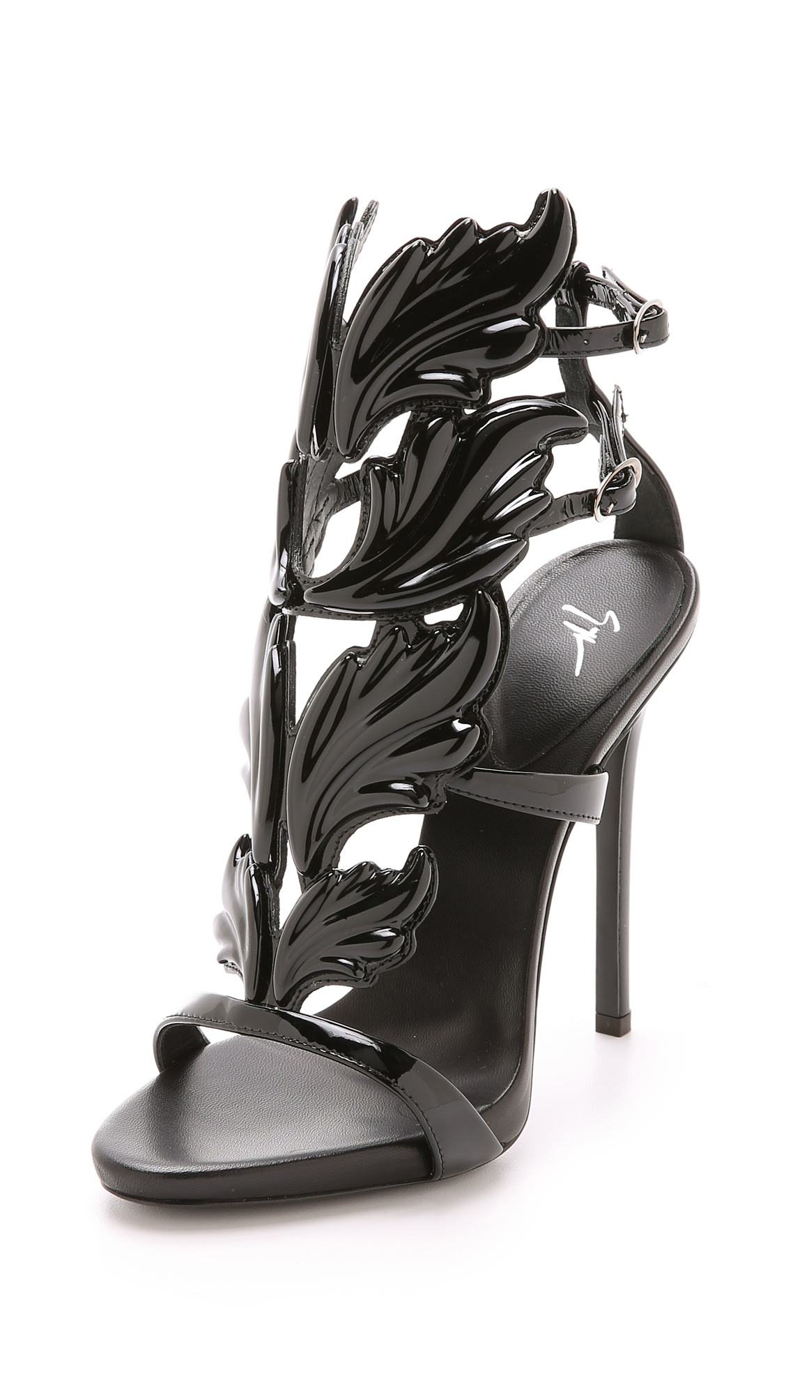 2342b83f931 ... canada giuseppe zanotti metal wing sandals in black lyst 0a18c c4f09