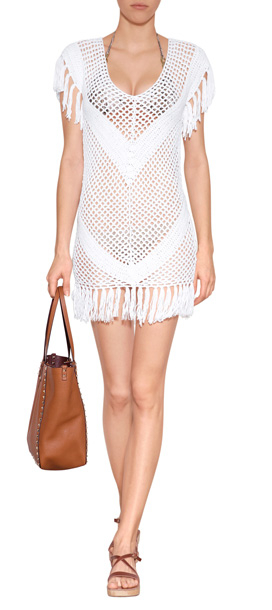 48d996d87dfa0 Lyst - Melissa Odabash Crochet Mini-Dress With Fringe Trim in White
