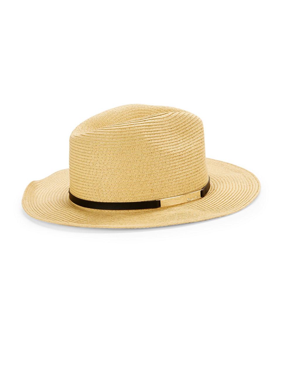calvin klein woven panama hat in lyst