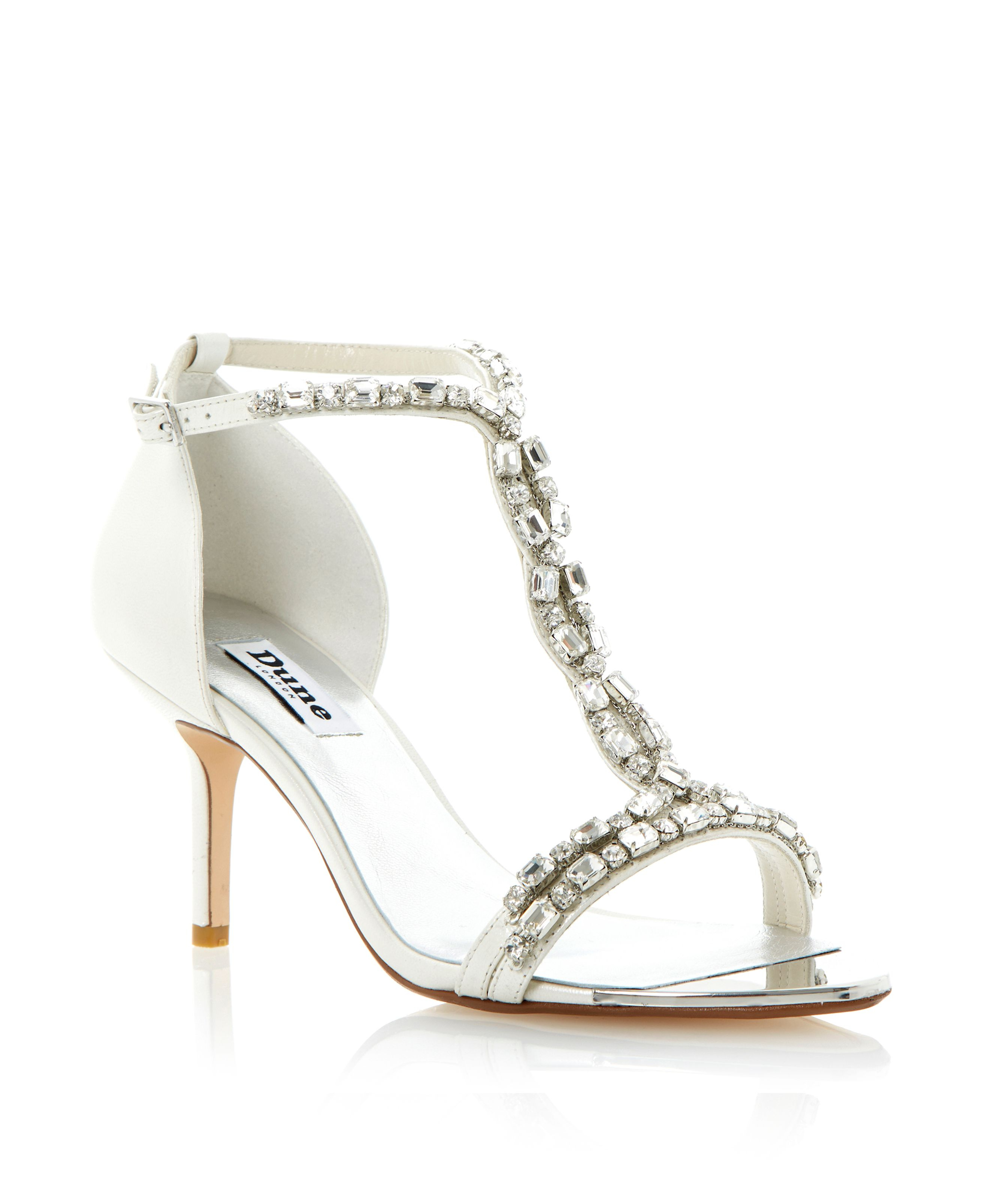 Dune Happiness Leather Tbar Jewelled Stiletto Sandals in Metallic ...
