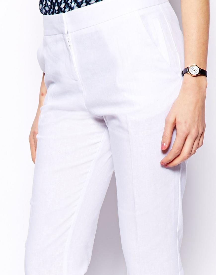 Lyst Asos Linen Trousers In Straight Leg In White