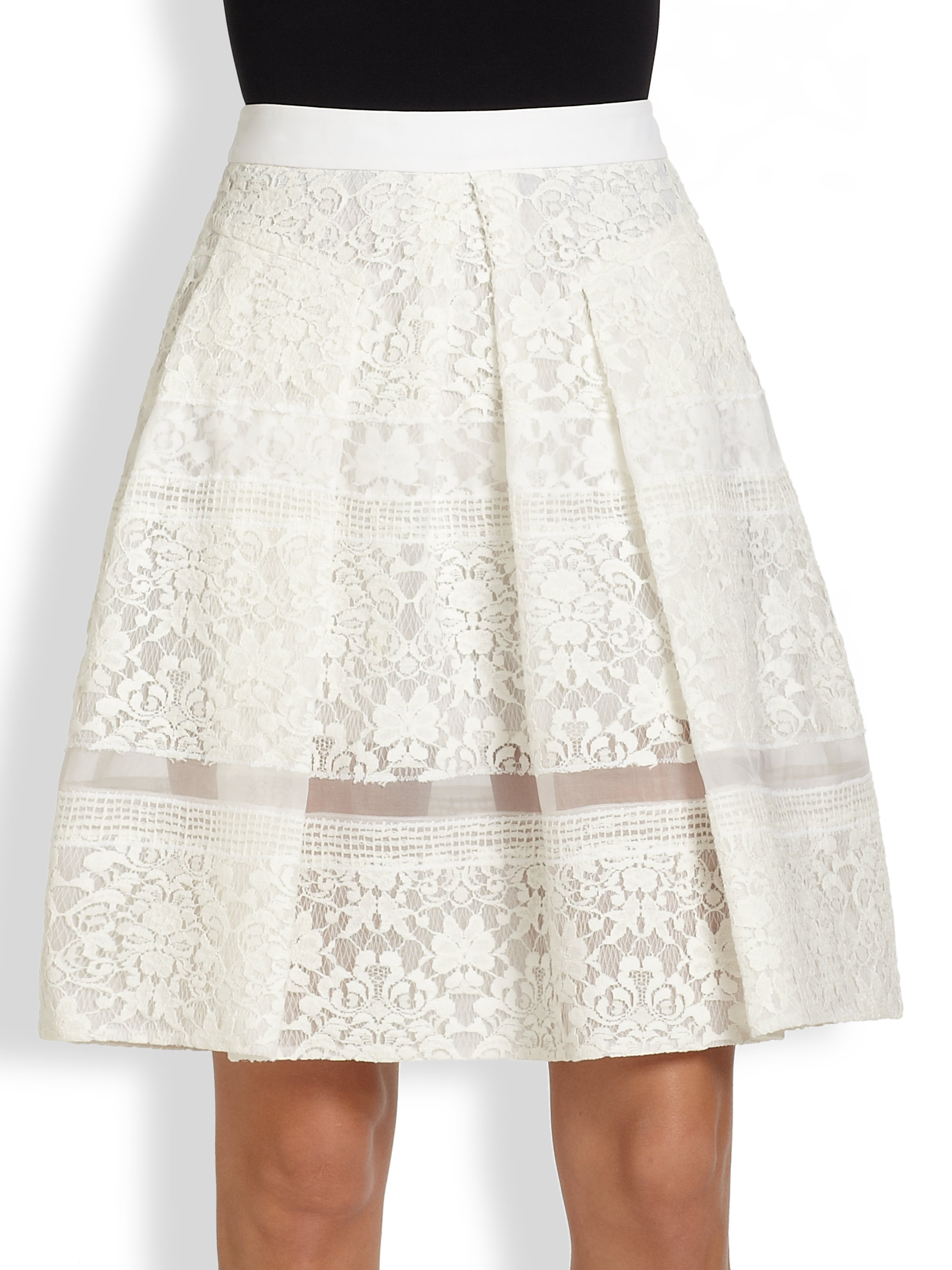 pleated lace skirt in white chalk lyst