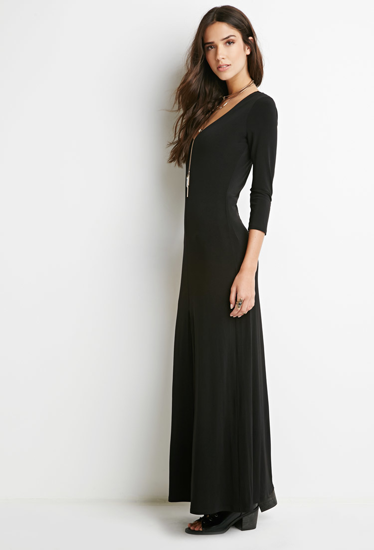 Black maxi dress with front slit