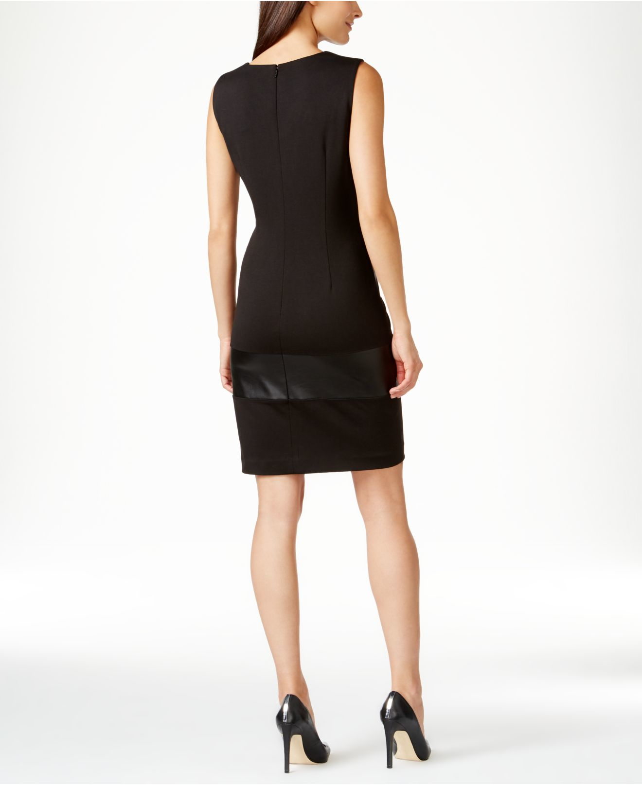 Calvin Klein Petite Colorblocked Faux-leather Sheath Dress In Black | Lyst