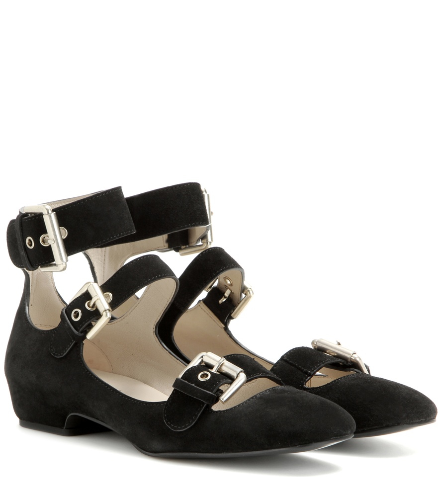see by chlo suede ballerina sandals in black lyst. Black Bedroom Furniture Sets. Home Design Ideas