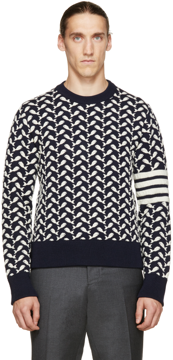 Thom browne Navy And White Jacquard Whale Sweater in Blue for Men ...